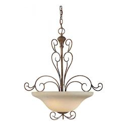 Four Light Rustic Sienna Tapioca Glass Up Pendant - Forte 2491-04-41