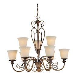 Nine Light Rustic Sienna Tapioca Glass Up Chandelier - Forte 2491-09-41