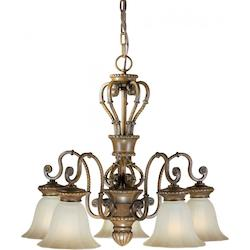 Five Light Rustic Sienna Shaded Umber Glass Down Chandelier - Forte 2493-05-41