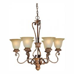 Six Light Rustic Sienna Shaded Umber Glass Up Chandelier - Forte 2493-06-41
