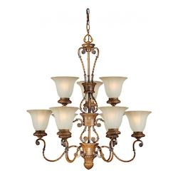 Nine Light Rustic Sienna Shaded Umber Glass Up Chandelier - Forte 2493-09-41