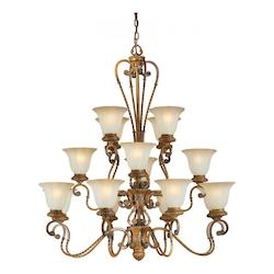 Sixteen Light Rustic Sienna Shaded Umber Glass Up Chandelier - Forte 2493-16-41