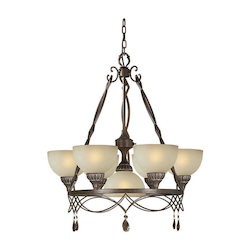Seven Light Black Cherry Shaded Umber Glass Up Chandelier - Forte 2496-07-27