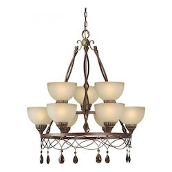 Nine Light Black Cherry Shaded Umber Glass Up Chandelier - Forte 2496-09-27