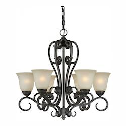 Six Light Bordeaux Umber Mist Glass Up Chandelier - Forte 2499-06-64