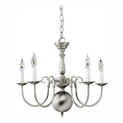 Five Light Brushed Nickel Up Chandelier - Forte 2500-05-55