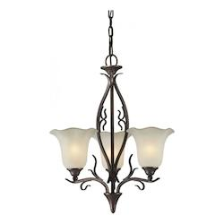 Three Light Black Cherry Shaded Umber Glass Up Chandelier - Forte 2505-03-27