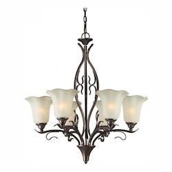 Six Light Black Cherry Shaded Umber Glass Up Chandelier - Forte 2505-06-27