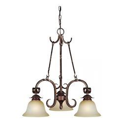 Three Light Black Cherry Umber Mist Glass Down Chandelier - Forte 2512-03-27