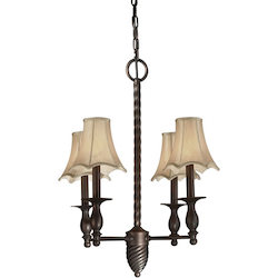 Four Light Antique Bronze Fabric Shade Up Chandelier - Forte 2521-04-32