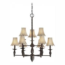 Nine Light Antique Bronze Fabric Shade Up Chandelier - Forte 2521-09-32