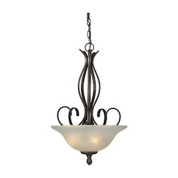 Three Light Antique Bronze Umber Linen Glass Up Pendant - Forte 2536-03-32