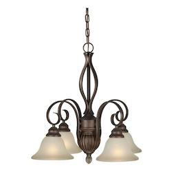 Four Light Black Cherry Shaded Umber Glass Down Chandelier - Forte 2536-04-27