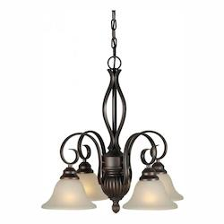 Four Light Antique Bronze Umber Linen Glass Down Chandelier - Forte 2536-04-32