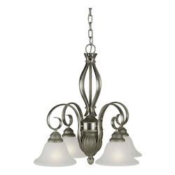 Four Light Brushed Nickel/river Rock White Linen Glass Down Chandelier - Forte 2536-04-95