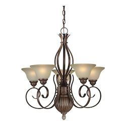Five Light Black Cherry Shaded Umber Glass Up Chandelier - Forte 2536-05-27