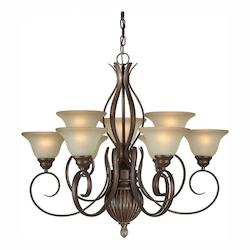 Nine Light Black Cherry Shaded Umber Glass Up Chandelier - Forte 2536-09-27