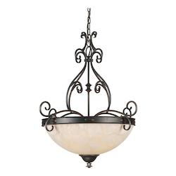 Four Light Bordeaux Tapioca Glass Up Pendant - Forte 2539-04-64