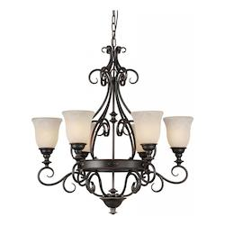 Six Light Bordeaux Tapioca Glass Up Chandelier - Forte 2539-06-64