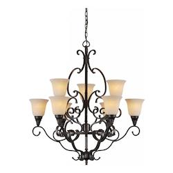 Nine Light Bordeaux Tapioca Glass Up Chandelier - Forte 2540-09-64