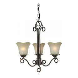Three Light Antique Bronze Shaded Umber Glass Up Chandelier - Forte 2563-03-32