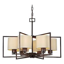 Six Light Antique Bronze Creamcolored Fabric Shade Drum Shade Chandelier - Forte 2570-06-32