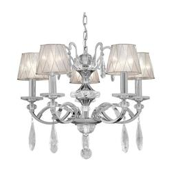 Five Light Chrome Fabric Shade Up Chandelier - Forte 4007-05-05