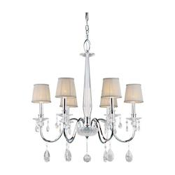 Six Light Chrome Fabric Shade Up Chandelier - Forte 4009-06-05