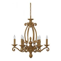 Six Light Chestnut Up Chandelier - Forte 7015-06-17