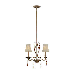 Two Light Rustic Sienna Up Chandelier - Forte 7409-02-41