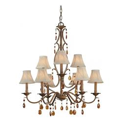 Nine Light Rustic Sienna Fabric Shade Up Chandelier - Forte 7409-09-41