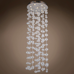 8 Light Bubbles Pendant Chandelier Light in Chrome Finish with Rainbow Glass - 371549