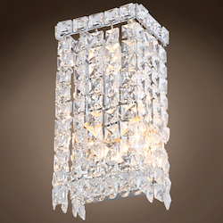 3 Light Crystal Wall Sconce Light in Chrome Finish with Clear Crystals  - 371551