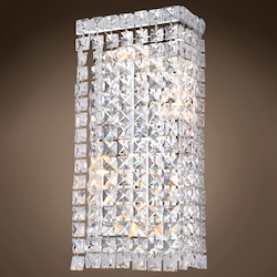 4 Light Crystal Wall Sconce Light in Chrome Finish with Clear Crystals - 371552
