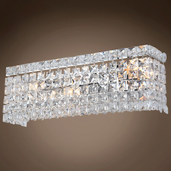 3 Light Crystal Wall Sconce Light in Chrome Finish with Clear Crystals - 371553