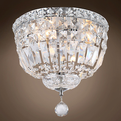 4 Light Round Crystal Flush Mount Light in Chrome Finish with Clear Crystals - 371554