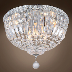 6 Light Round Crystal Flush Mount Light in Chrome Finish with Clear Crystals - 371555