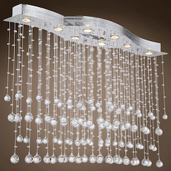 8 Light Pendant Chandelier Light in Chrome Finish with European Crystals - 371558