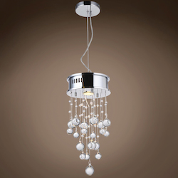 1 Light Flush Mount Light in Chrome Finish with Clear Murano Glass Balls - 371560