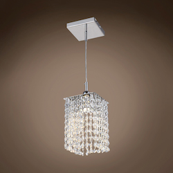 1 Light Square Shape Crystal Mini Pendant Light in Chrome Finish with Crystal - 371562