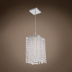 1 Light Square Shape Crystal Mini Pendant Light in Chrome Finish with Crystal - 371563