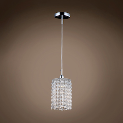 1 Light Round Shape Crystal Mini Pendant Light in Chrome Finish with Crystal - 371565