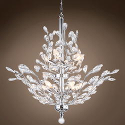 10 Light Crystal Chandelier Light in Chrome Finish with European Crystals - 371568