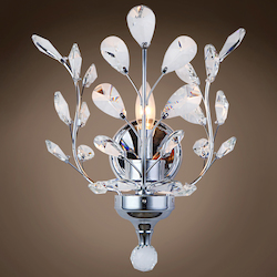 1 Light Crystal Wall Sconce Light in Chrome Finish with Clear Crystals  - 371571