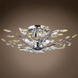 8 Light Semi Flush Mount in Chrome Finish with Golden Teak and Clear Crystals - 371572