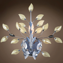 1 Light Wall Sconce Light in Chrome Finish with Golden Teak and Clear Crystals - 371576