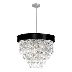 6Lt Glass Loop Chandelier W/Blk Sh