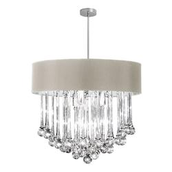 8Lt Chandelier -Glass Droplets W/Peb Sh