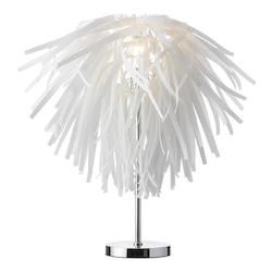 Vinyl Table Lamp,White W/Chrome Base