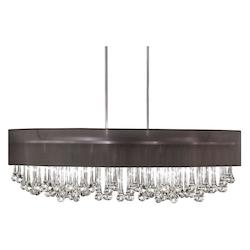 8 Light Chandelier With Glass Droplets And Black Shade